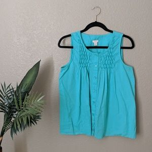 J Crew Teal Sleeveless Buttoned Blouse Sz 6